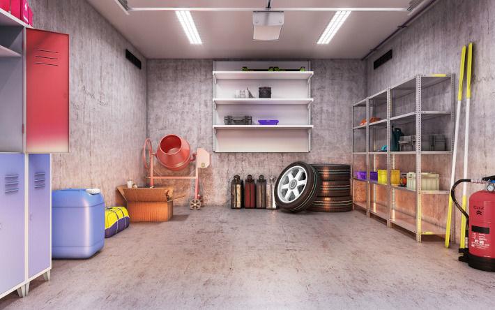 Wnętrze ocieplonego garażu