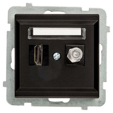 Gniazdo telewizyjno - komputerowe F/HDMI SONATA Czarny OSPEL