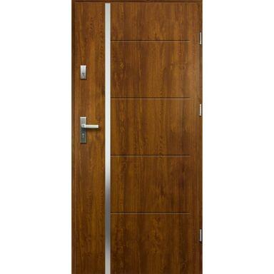 Drzwi zewnętrzne stalowe antywłamaniowe RC2 Iris złoty dąb 80 prawe Loxa