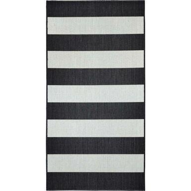 Dywan zewnętrzny w pasy Ethnic biało-czarny 80 x 150 cm