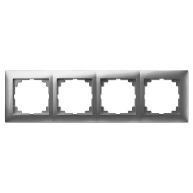 Ramka poczwórna CARLA  srebrny  ELEKTRO - PLAST