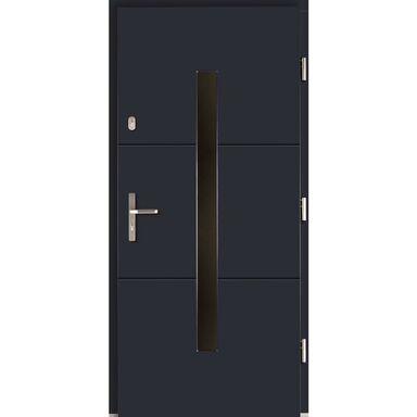 Drzwi zewnętrzne drewniane Proxima antracyt 90 prawe Lupol