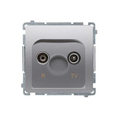 Gniazdo RTV przelotowe BASIC  inox  KONTAKT SIMON