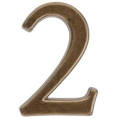 Cyfra 2 wys. 5 cm metalowa brązowa