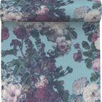 Tapeta w kwiaty Maruva turkusowa winylowa na flizelinie