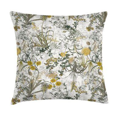 Poduszka w kwiaty żółta 45 x 45 cm