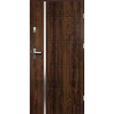 Drzwi zewnętrzne stalowe antywłamaniowe RC2 Iris orzech 90 prawe Radex