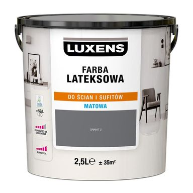 Farba wewnętrzna LATEKSOWA 2.5 l Granit 2 LUXENS