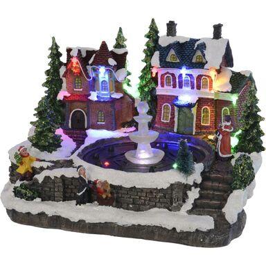 Wioska świąteczna fontanna LED domek 18 x 21 cm 1 szt.