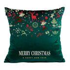 Poduszka świąteczna Merry Christmas zielona 45 x 45 cm