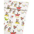 Tkanina dziecięca na mb FAIRYLAND RYCERZ beżowa szer. 160 cm bawełniana