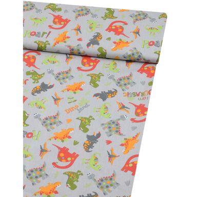 Tkanina dziecięca na mb JURASSIC DINO szara szer. 160 cm bawełniana