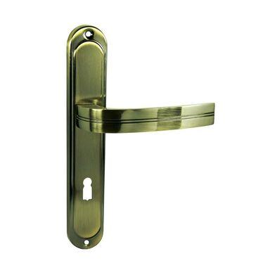 Klamka drzwiowa z długim szyldem pod klucz DEKAN 72 Brąz grafiato DOMINO