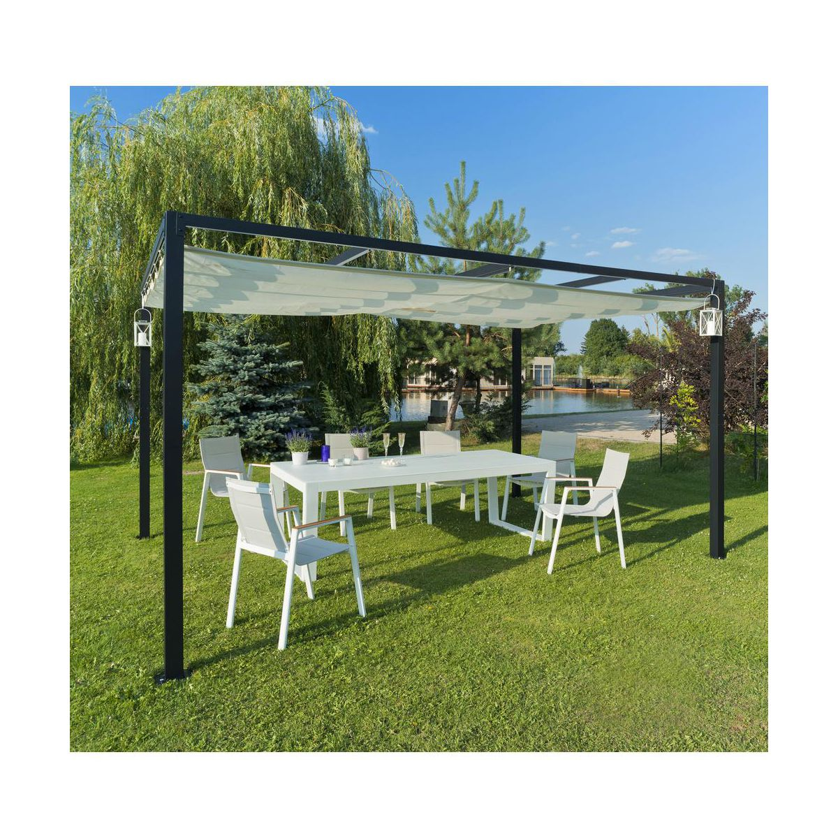 pergola aluminio 4x3 leroy merlin. Black Bedroom Furniture Sets. Home Design Ideas