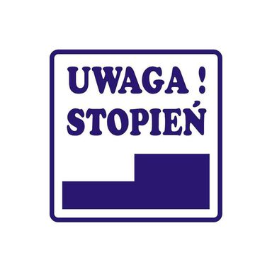 Znak informacyjny UWAGA STOPIEŃ 14.8 x 14.8 cm