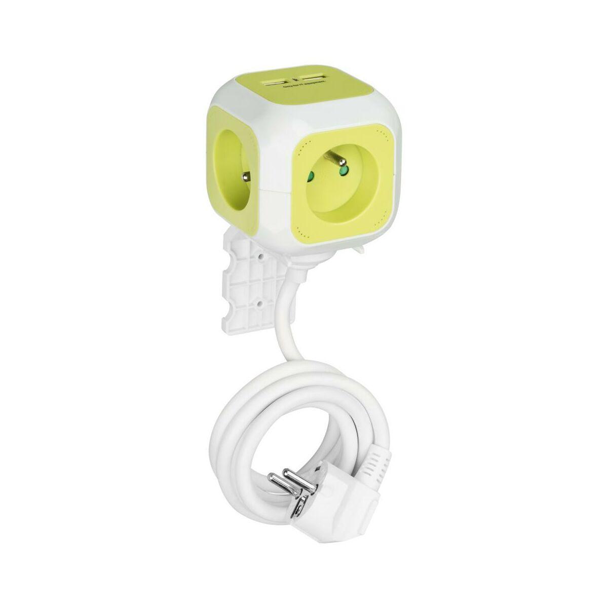 Przedłużacz KOSTKA 4P+Z Z USB X2 ZIELONY