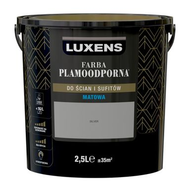 Farba wewnętrzna PLAMOODPORNA 2.5 l Silver LUXENS