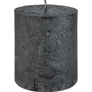 Świeca pieńkowa RUSTIC METALLIC antracyt wys. 8 cm BOLSIUS