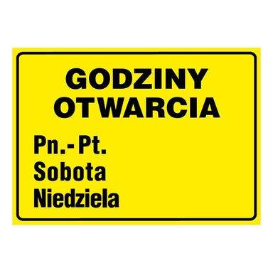 Znak informacyjny GODZINY OTWARCIA wys. 21 cm