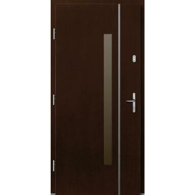 Drzwi zewnętrzne drewniane Kalipso orzech 90 lewe Lupol