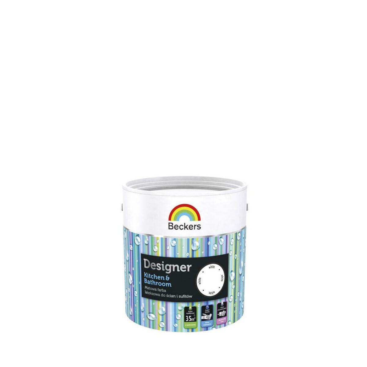 Farba Wewnętrzna Designer Kitchen Bathroom 25 L White Beckers