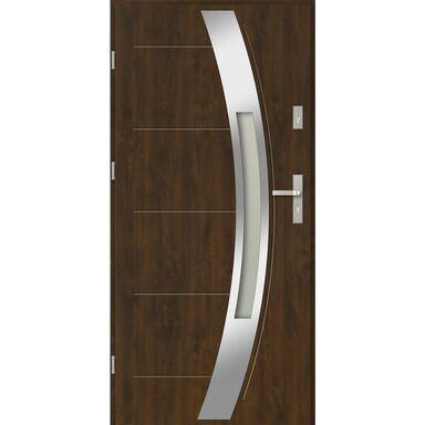 Drzwi zewnętrzne stalowe Sienna Orzech 90 Lewe EVOLUTION