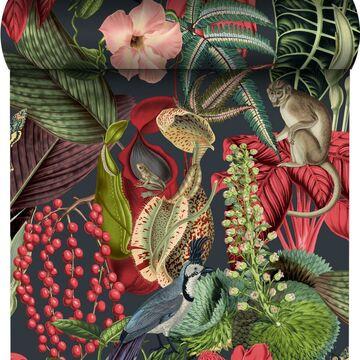 Tapeta w liście Amazon zielono-czerwona winylowa na flizelinie