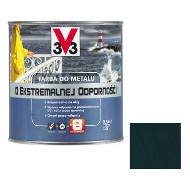 Farba antykorozyjna O EKSTREMALNEJ ODPORNOŚCI 0.5 l Ciemnozielony Połysk V33