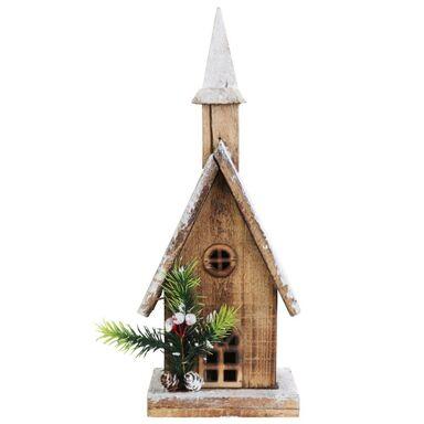 Drewniany kościół 35 x 13 x 9 cm 10 LED