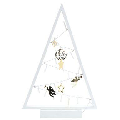 Drewniana choinka 40 x 27 cm z oświetleniem LED i ozdobami biała