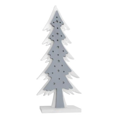 Choinka z oświetleniem LED 12.5 x 28 cm biało-szara