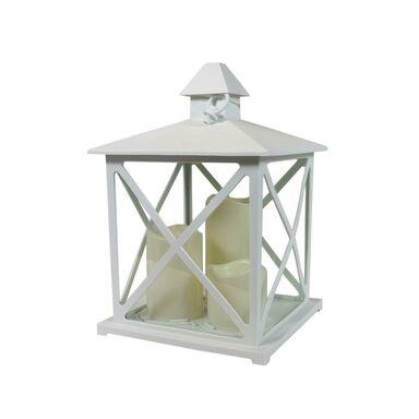 Latarenka ze świecami 37 x 23 cm LED biała