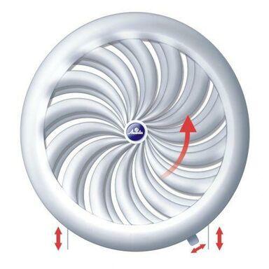 Kratka wentylacyjna OKRĄGŁA Z ŻALUZJĄ 100-150 mm biała EQUATION