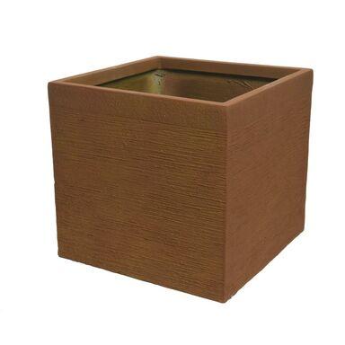 Donica kwadratowa 40 cm rdzawa z włókna szkalnego