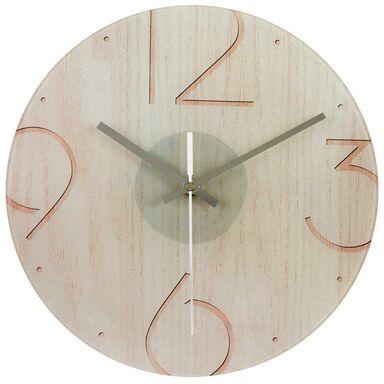 Zegar ścienny szklany SOSNA śr. 30 cm beżowy