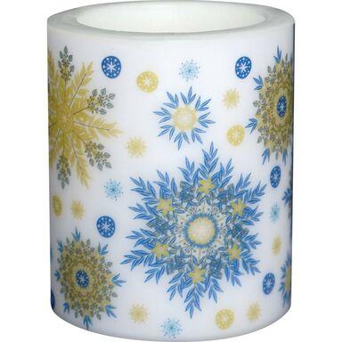 Lampion świąteczny na świeczkę SNOWFLAKES NAVY BLUE wys. 10 cm