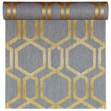 Tapeta geometryczna DIAMOND ciemnoszara ze złotem winylowa na flizelinie