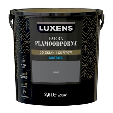 Farba wewnętrzna PLAMOODPORNA 2.5 l Storm LUXENS