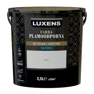 Farba wewnętrzna PLAMOODPORNA 2.5 l Smoky LUXENS