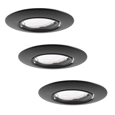 Zestaw opraw stropowych oczek 3 szt. OLIN czarne okrągłe LED POLUX