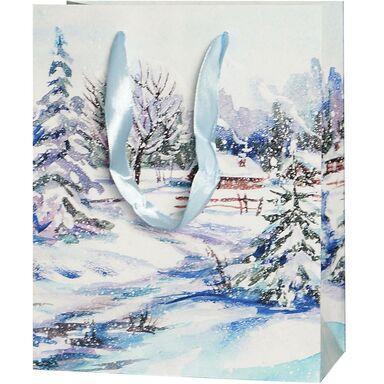 Torebka na prezenty WINTER VILLAGE 10 x 25 cm