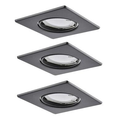 Zestaw opraw stropowych oczek 3 szt. OLIN czarne kwadratowe LED POLUX