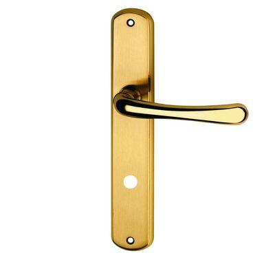Klamka drzwiowa z długim szyldem do WC GAJA 72 Mosiądz SCHAFFNER