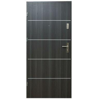 Drzwi zewnętrzne MDF Hektor 32 dB Dąb Grafit 4 80 Lewe otwierane do wewnątrz Domidor