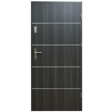 Drzwi zewnętrzne MDF Hektor 32 dB Dąb Grafit 4 80 Prawe otwierane do wewnątrz Domidor