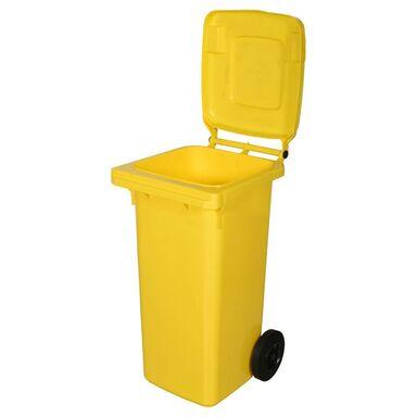 Kosz na śmieci 120 l żółty na odpady plastikowe i metalowe