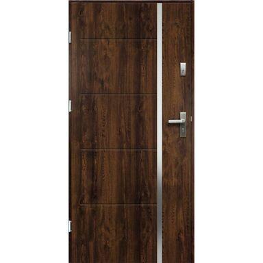 Drzwi zewnętrzne stalowe antywłamaniowe RC2 Iris orzech 90 lewe Radex