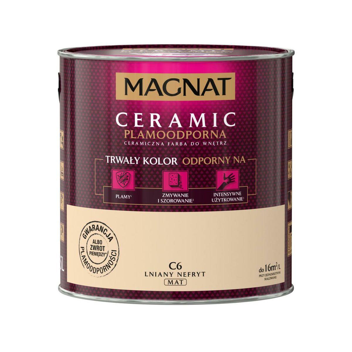 Farba Wewnetrzna Ceramic 2 5 L Lniany Nefryt Magnat Farby Scienne Kolorowe W Atrakcyjnej Cenie W Sklepach Leroy Merlin