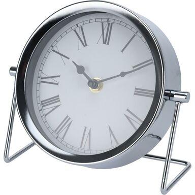 Zegar stołowy okrągły śr. 16 cm srebrny