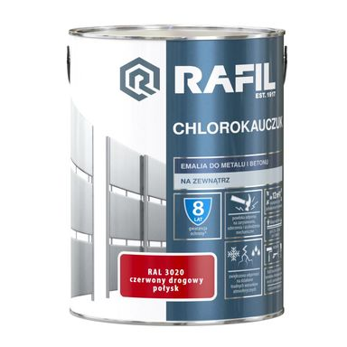 Emalia do metalu i betonu CHLOROKAUCZUK 5 l Czerwony drogowy RAL 3020 RAFIL